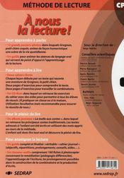 A Nous La Lecture ; Méthode De Lecture ; Cp ; Le Guide De L'Enseignant - 4ème de couverture - Format classique