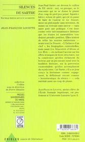 Silence De Sartre - 4ème de couverture - Format classique