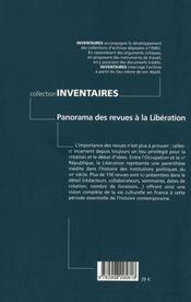 Panorama des revues à la liberation - 4ème de couverture - Format classique