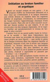 Initiation au Breton familier et argotique (édition 2006) - 4ème de couverture - Format classique