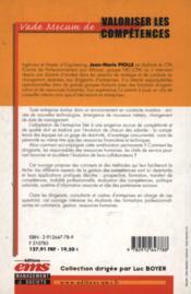 Valoriser competences - 4ème de couverture - Format classique