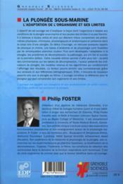La plongée sous marine ; l'adaptation de l'organisme et ses limites (édition 2010) - 4ème de couverture - Format classique