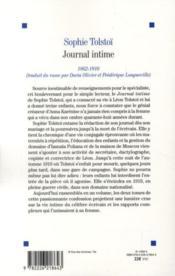 Journal intime t.1 et t.2 (édition 2010) - 4ème de couverture - Format classique