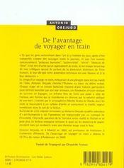 De L'Avantage De Voyager En Train - 4ème de couverture - Format classique