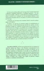 Monnaie systeme financier et politique monetaire - 4ème de couverture - Format classique
