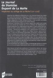 Le journal de stanislas dupont de la motte inspecteur au college de la fleche, 1771-1776 - 4ème de couverture - Format classique