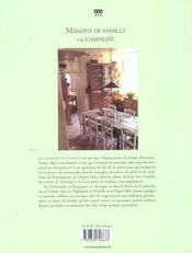 Maisons de famille à la campagne - 4ème de couverture - Format classique