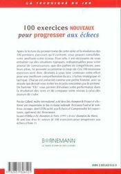 100 Exercices Nouveaux Progresser Aux Echecs - 4ème de couverture - Format classique