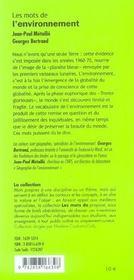 Les Mots De L Environnement - 4ème de couverture - Format classique