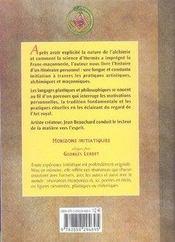 L'alchimie dans la franc-maçonnerie - 4ème de couverture - Format classique