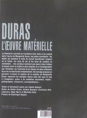 Duras, l'oeuvre matérielle - 4ème de couverture - Format classique
