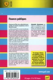 Finances publiques - 4ème de couverture - Format classique