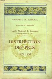 Distribution Des Prix 1929-1930. Lycee Michel De Montaigne Longchamps-Talence. - Couverture - Format classique