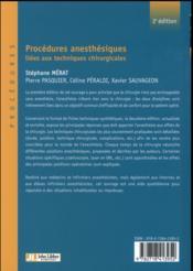 Procédures anesthésiques liées aux techniques chirurgicales t.1 (2e édition) - 4ème de couverture - Format classique