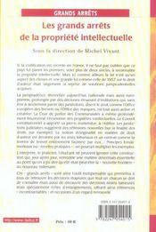 Les grands arrêts de la propriété intellectuelle ; par les chercheurs de l'équipe de recherche ; créations immatérielles et droit (1re édition) - 4ème de couverture - Format classique