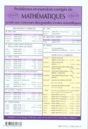 Problèmes corrigés de mathématiques e3a/e4a t.4 - 4ème de couverture - Format classique