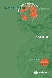 Mondes En Developpement N.135 ; Environnement, Eau, Echanges, Croissance, Intégration Régionale Et Développement - Couverture - Format classique