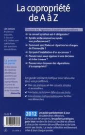 La copropriété de a à z (édition 2012) - 4ème de couverture - Format classique