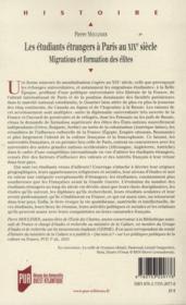 Les étudiants étrangers à Paris au XIXe siècle ; migrations et formation des élites - 4ème de couverture - Format classique