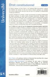 Droit constitutionnel (édition 2012) - 4ème de couverture - Format classique