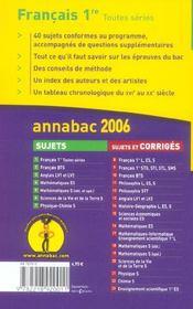 Annabac Sujets T.1 (édition 2006) - 4ème de couverture - Format classique
