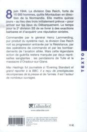 La division das reich ; Tulle, Oradour-sur-Glane, Normandie, 8-20 juin 1944 - 4ème de couverture - Format classique