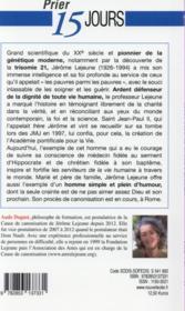 Prier 15 jours avec... T.179 ; le professeur Jérôme Lejeune - 4ème de couverture - Format classique