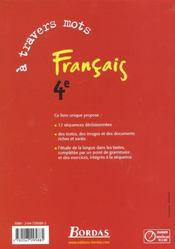 A travers mots 4e 2002 manuel - 4ème de couverture - Format classique