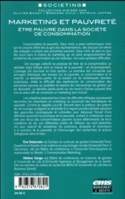 Marketing et pauvreté ; être pauvre dans la société de consommation - 4ème de couverture - Format classique