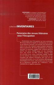 Panorama des revues littéraires sous l'occupation - 4ème de couverture - Format classique