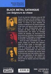 Black metal satanique ; les seigneurs du chaos - 4ème de couverture - Format classique