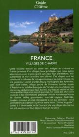 Villages de charme ; France (édition 2010) - 4ème de couverture - Format classique