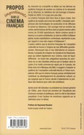 Propos impertinents sur le cinéma français (2e édition) - 4ème de couverture - Format classique
