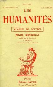 LES HUMANITES, CLASSES DE LETTRES, 28e ANNEE, N° 274, N°6, MARS 1952 - Couverture - Format classique