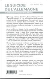 Le suicide de l'Allemagne ; sur le Moïse de Thomas Mann - 4ème de couverture - Format classique