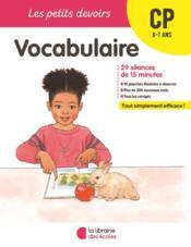LES PETITS DEVOIRS ; vocabulaire ; CP - Couverture - Format classique
