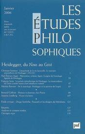 REVUE LES ETUDES PHILOSOPHIQUES N.2006/1 ; Heidegger, du nous au Geist - Intérieur - Format classique