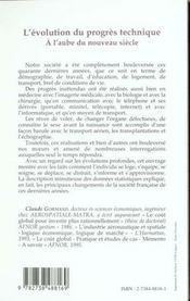 L'Evolution Du Progres Technique ; A L'Aube Du Nouveau Siecle - 4ème de couverture - Format classique