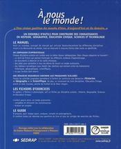A Nous Le Monde ; Ce2 ; Le Manuel - 4ème de couverture - Format classique