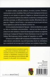 Résister à la guerre d'Algérie ; par les textes de l'époque - 4ème de couverture - Format classique