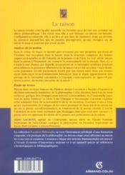 La raison ; analyse de la notion, étude de textes : Platon, Aristote, Kant, Heidegger - 4ème de couverture - Format classique