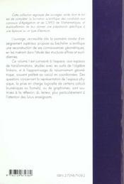 Geometrie Et Applications Structures Algebriques En Geometrie - 4ème de couverture - Format classique
