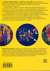 La Culture Democratique : Un Defi Pour Les Ecoles - 4ème de couverture - Format classique