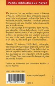 Prismes ; critique dela culture et société - 4ème de couverture - Format classique