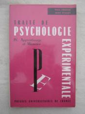Traité de psychologie expérimentale, IV apprentissage et méthode - Couverture - Format classique