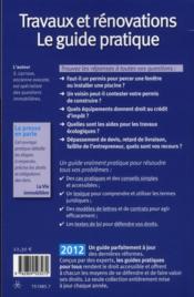 Travaux et renovations 2012 - 4ème de couverture - Format classique