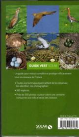 Guide vert des oiseaux de France - 4ème de couverture - Format classique