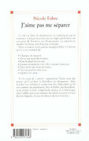 J'Aime Pas Me Separer - 4ème de couverture - Format classique