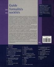 Guide des formalités des sociétés (3e édition) - 4ème de couverture - Format classique