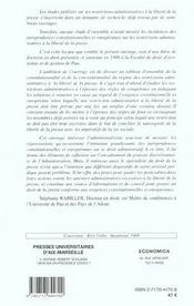 Les restrictions administratives a la liberte de la presse face aux exigences constitutionnelles et europeennes - 4ème de couverture - Format classique